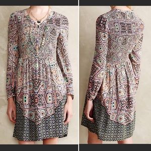 Anthropologie Maeve Tiled Amethyst Smocked Dress